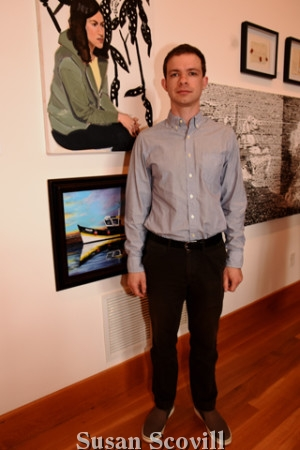 """3. Julian Cushing posed with his entry (top) """"Jardin Botonique""""."""