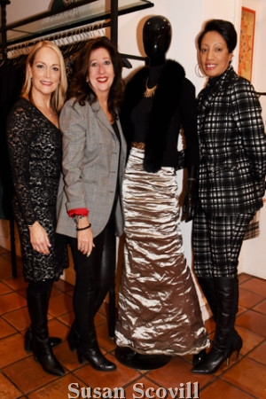 4. Mary Pat Kessler, Mary Dougherty and Sabrina Pray paused for a photo with a mannequin dressed in high style wearing Nicole Miller's fabulous formal gown ensemble outfit!