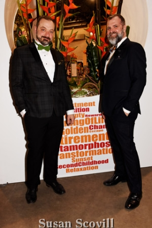 9. Al Fuchs and Eric Schellack paused for a photo at their Flower Show installation.