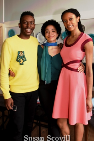 5. Stirling Perry and Shai Harris chatted with Courtney Pilgreen who was wearing a dress from the Paula Hian Collection.