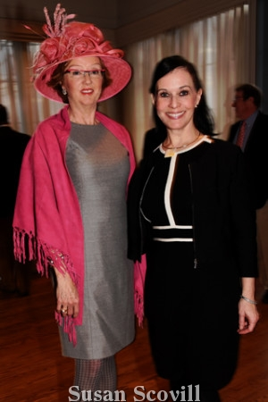7. Cynthia Sansone chatted with Millininer Tiffany Arey. Tiffany spoke to the guests about hat-making during the event.