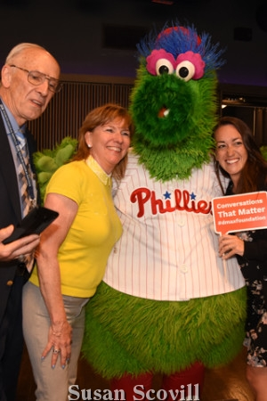 Pictured taking a picture with the Phillie Phanatic