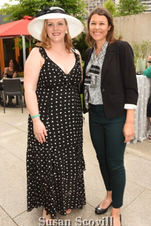 2. Nancy Ahlum chatted with Emily Goldsleger during the garden reception.