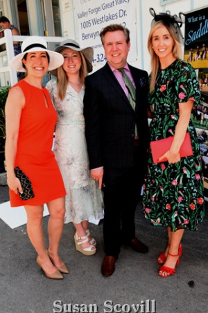 5. Rebecca Goodman,Tiffany Mulick, Brian Cawley and Isabelle Howard of Bloomingdale's attended the Hat Day competition.