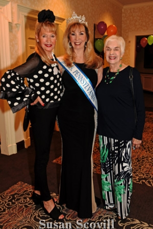 2. Sandy Louderback and Sandra Maxwell welcomed Mrs. Pennsylvania Phyllis Gambone ( center) to the event .