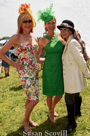 10. Sandra Yodesky and Amy Holzapfel chatted with hat judge Conni McDonnell.