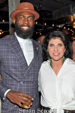 13. Malcolm Jenkins chatted with Wall Ball co- chair Margelle Liss.