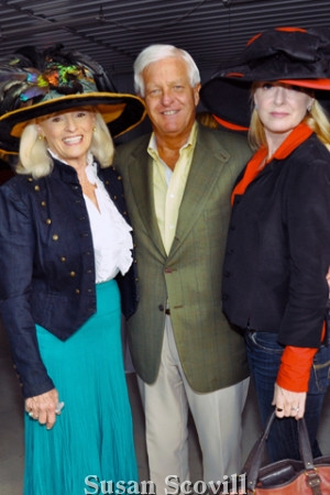 10. Betsy Demarino and Cheryl Lamoreux chatted with Devon Horse Show Chairman Wayne Grafton during a country cocktail reception held following the Hat Contest.