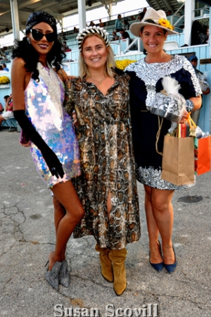 5. Kacia Biassou (left) wearing a sequin and chapeau outfit wowed the Dressage Hat Contest crowd. Hat Contest judge Sydney Grims of Fearless Restaurants and Dressage at Devon organizer Adrienne Morella paused for a photo with Kacia!