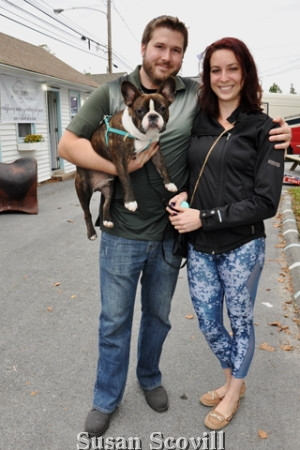 8. Jeff and Mikaila Beisel came with their French Bulldog Enzo!