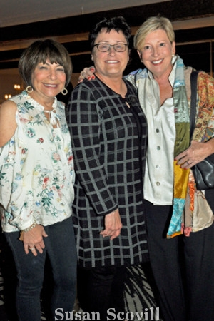9. Wendy Parris and Marcie Kennedy chatted with CSC's CEO Kelly Harris (center).