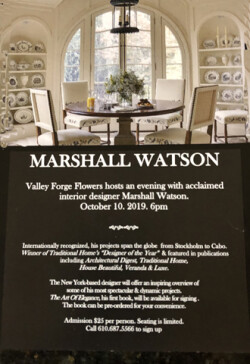 Valley Forge Flowers to host an evening with acclaimed interior designer Marshall Watson.