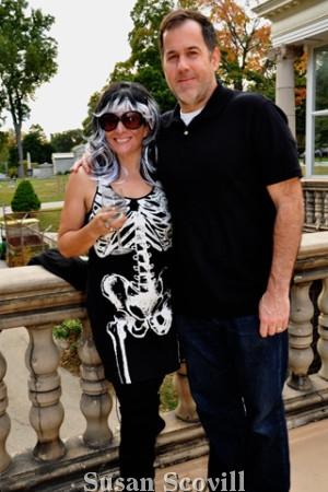 3. Natalie Pompillo and Jordan Barnett enjoyed cocktails on the terrace.