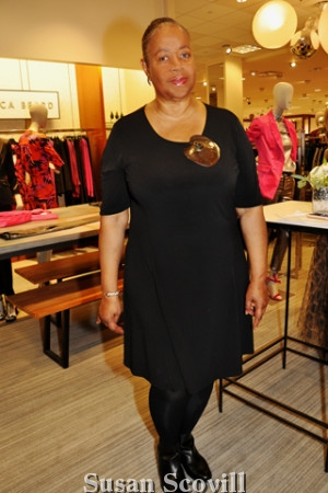 """11. Antonia Batts, this year's 'Our Closet Shopper"""" spoke to the fashion show guests before the fashion show began."""