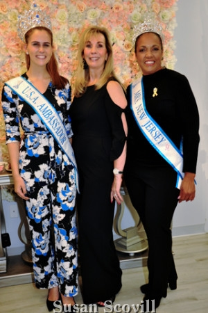 10. Julia Minakowski wearing her Miss U.S.A. Ambassador sash, and Miriam Silva wearing the Mrs. New Jersey sash paused for a photo with Phyllis Gambone who is the current Ms. America.