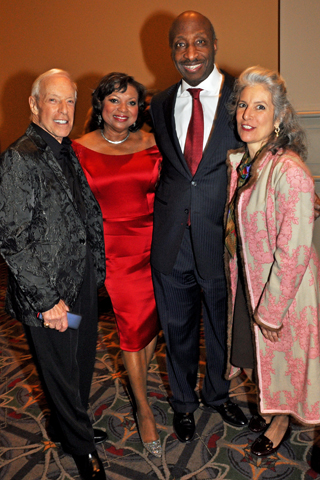 Jerry Blavat and his daughter Gerrie (left and right) were chatted with Award of Merit honorees Andrea and Kenneth Frazier (center) during the cocktail reception.