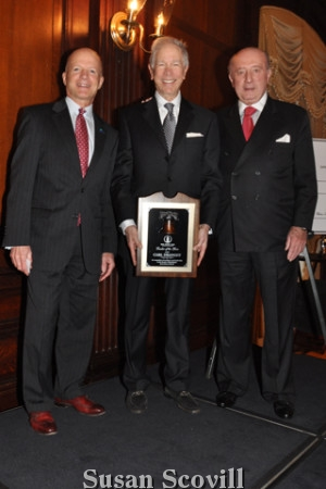 12. John Finley, honoree Carl Dranoff and former Union League President Tom Pappas were pictured following the Leader . of the Year award presentation