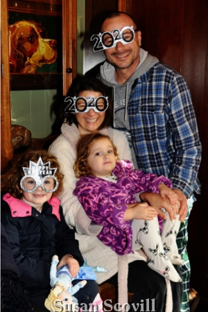 7. Alison Skiles and family wore their New Year's Eve masks to the brunch.