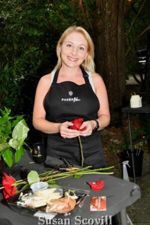 3. Suzanne Gildea enjoyed making her floral arrangement.