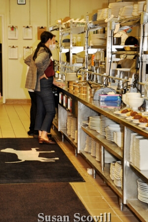 White Dog Cafe manager Kathleen Malin was pictured in the well-equipped kitchen.