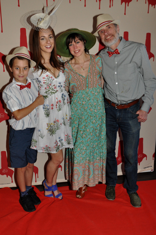 6. Nolan Piron, Natalie Bar, Amanda Wagner and Desmond Slatttery paused for a photo at the step and repeat.