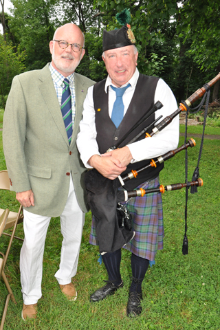 11. St. Andrews Society Past president Ken Leith chatted with Pipe Major Dr. William Watson during the Royal Garden Party. The event was the E-SU's annual celebration of Her Majesty Queen Elizabeth II's birthday.