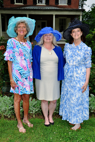 5. Jeptha Abbott treasurer Susan O'Donnelll, National Vice-President for Women's Isues Cynthia Pritchard and Jeptha Abbott Regent and State Chairman Anne Peckham paused for a photo at the E-SU garden party.