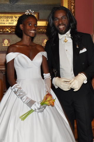 2. Debutante Presenter Nafeeah Cannady shared a moment with Masonic Officer David Alexander Jenkins during the event.