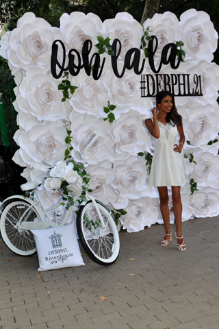 18. The bike and a flower board greeted attendees as they entered the DEB 2021 event held in Rittenhouse Square.